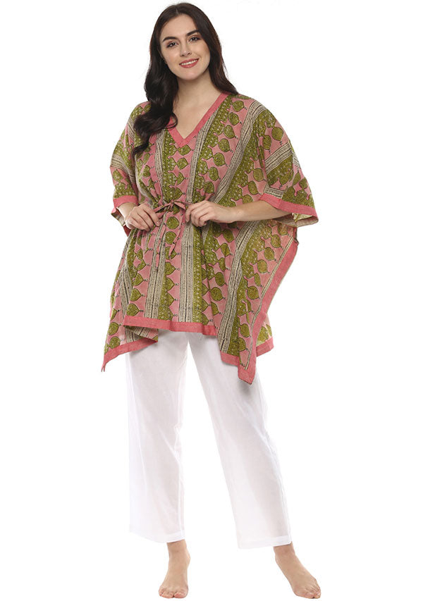 Pink Green Hand Block Printed Short Kaftan with White Pyjamas