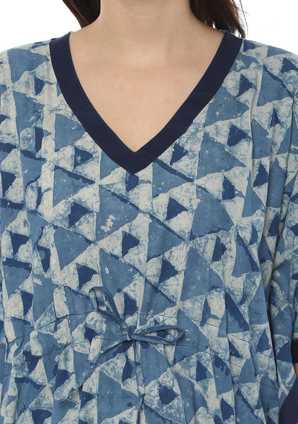 Indigo Ivory Hand Block Printed Short Kaftan with White Pyjamas