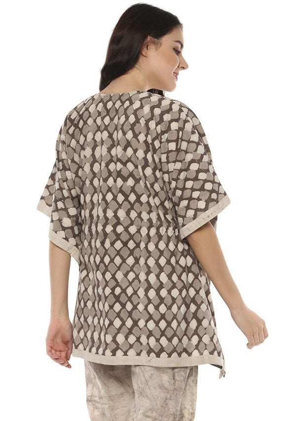 Beige Brown Hand Block Printed Short Kaftan Tunic