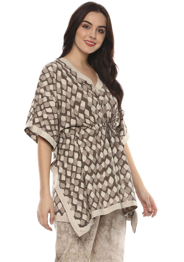 Beige Brown Hand Block Printed Short Kaftan with White Pyjamas