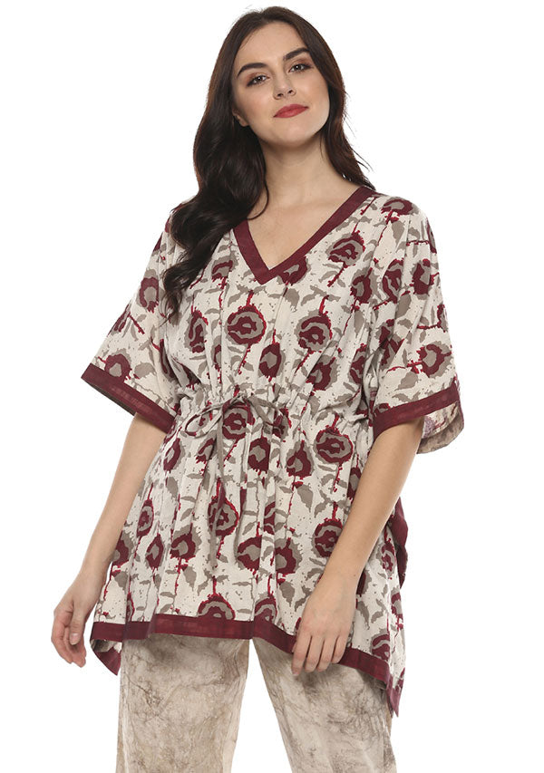 Ivory Maroon Hand Block Printed Short Kaftan with White Pyjamas