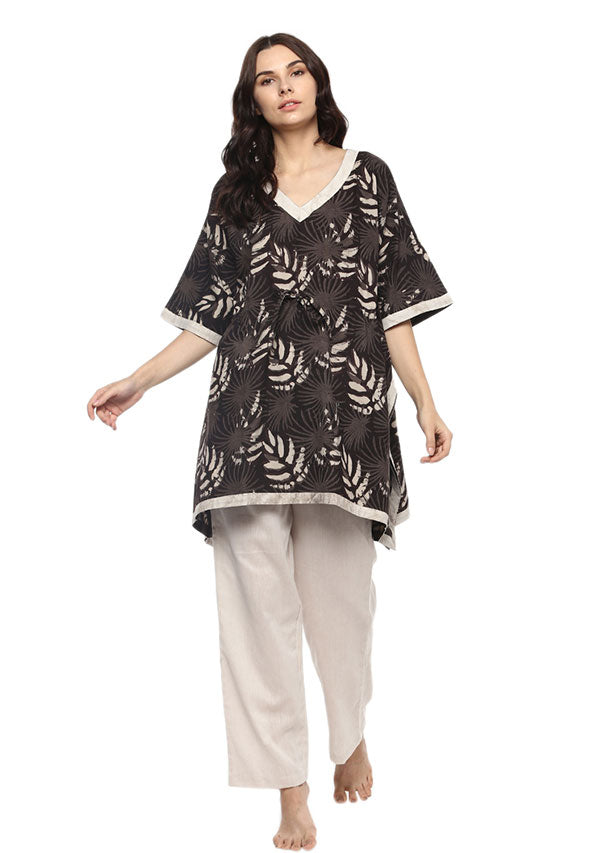 Brown Ivory Leaf Motif Short Kaftan Tunic