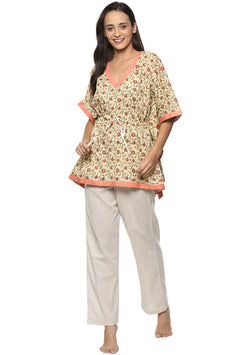 Yellow Peach Flower Motif Short Kaftan with White Pyjamas