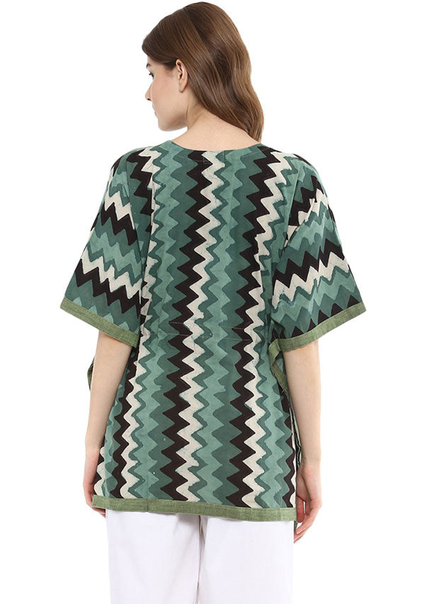 Green Ivory Chevron Hand Block Printed Short Cotton Kaftan Tunic