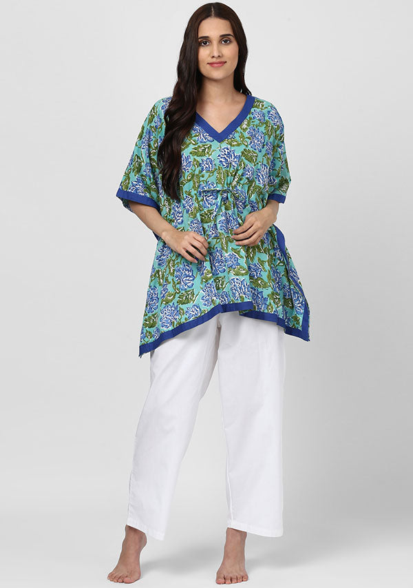 Aqua Blue Flower Motif Hand Block Printed Short Kaftan Tunic