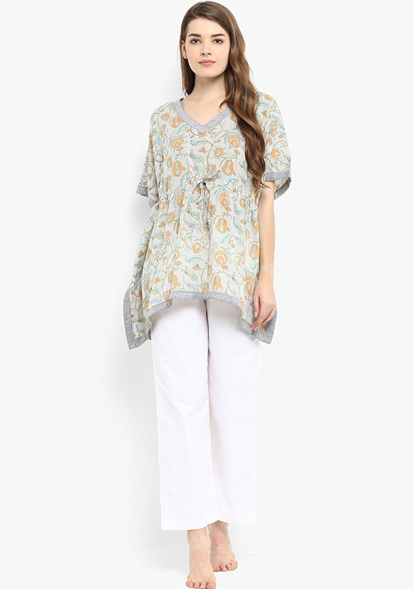 Grey mustard Hand Block printed Short Cotton Kaftan with White Pyjamas
