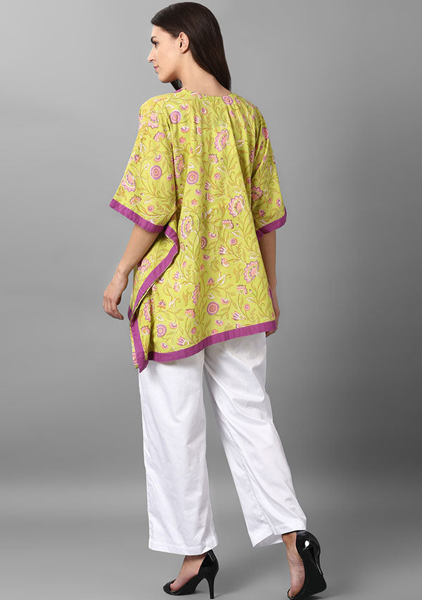 Lime Green Pink Floral Hand Block Printed Short Cotton Kaftan Tunic