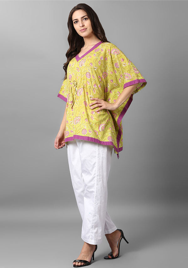 Lime Green Pink Floral Hand Block Printed Short Cotton Kaftan with White Pyjamas