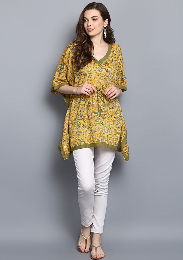 Yellow Green Floral Hand Block Printed Short Cotton Kaftan Tunic