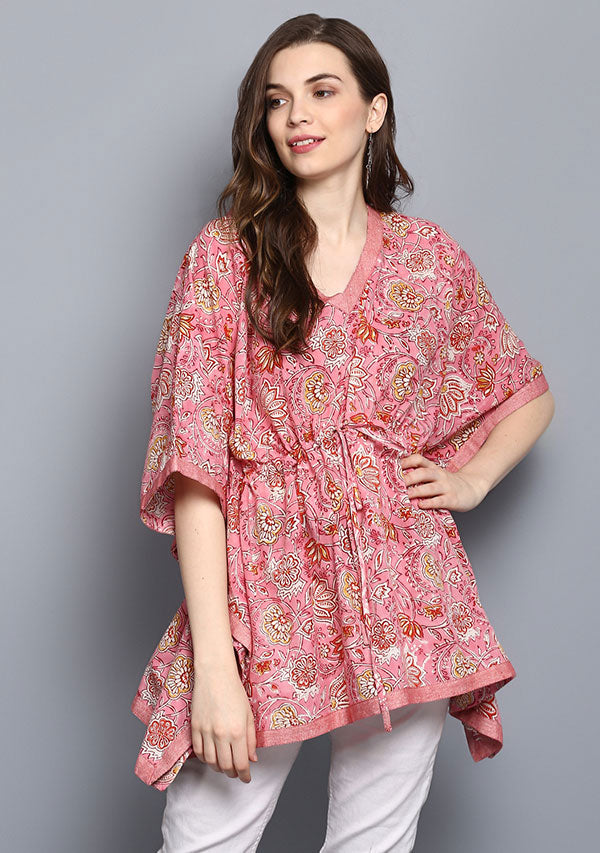 Pink Red Floral Hand Block Printed Short Cotton Kaftan Tunic