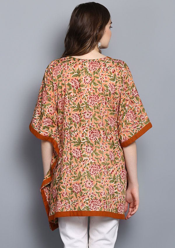 Peach Red Hand Block Printed Short Cotton Kaftan Tunic