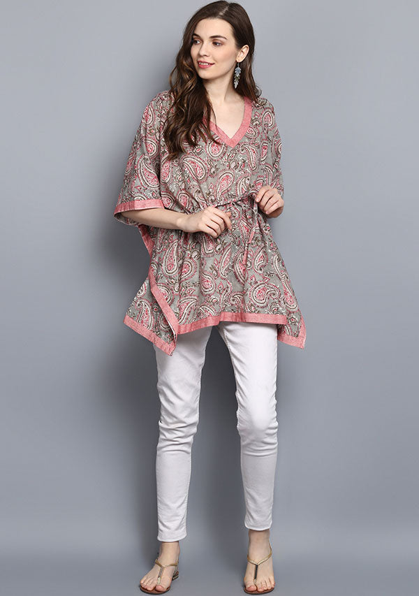 Grey Pink Paisley Hand Block Printed Short Cotton Kaftan Tunic