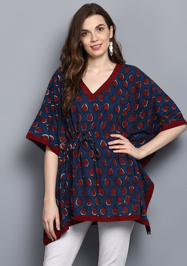 Indigo Maroon Hand Block Printed Short Cotton Kaftan Tunic