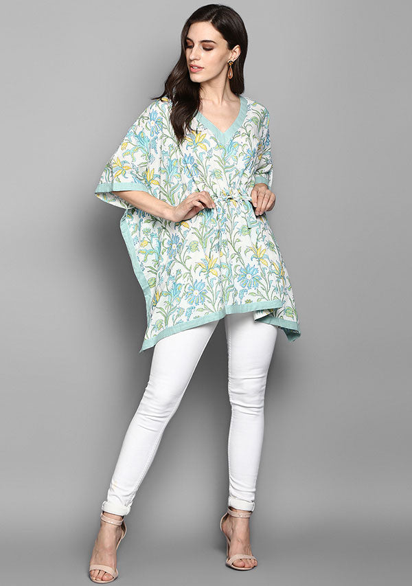 White Aqua Floral Print Hand Block Printed Short Cotton Kaftan Tunic