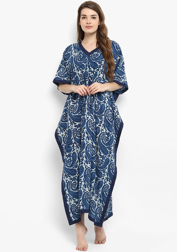 Indigo Ivory Paisley Hand Block Printed Tie-Up Waist Cotton Kaftan