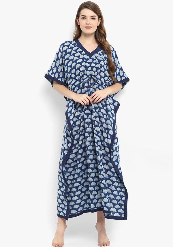 Indigo Ivory Hand Block Printed Tie-Up Waist Cotton Kaftan