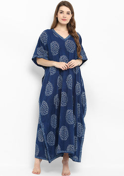 Indigo Hand Block Printed V-Neck Cotton Kaftan