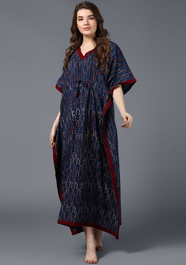 Indigo Maroon Hand Block Printed Tie-Up Waist Cotton Kaftan