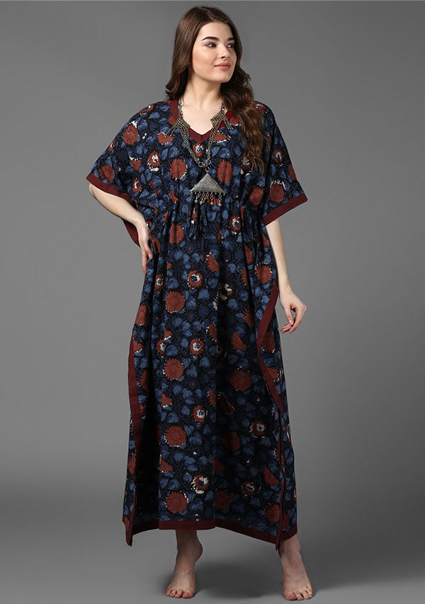 Indigo Maroon Flower Motif Hand Block Printed Tie-Up Waist Cotton Kaftan