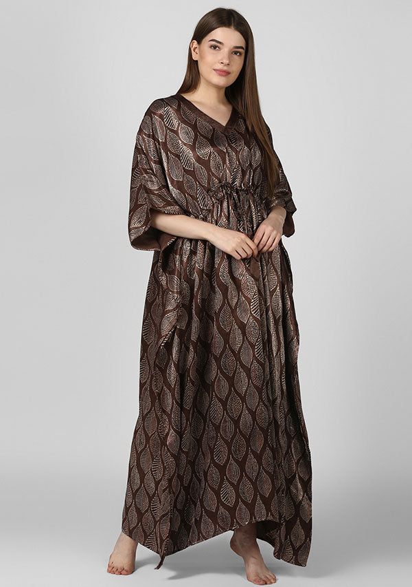 Chestnut Brown Red Printed Mushru Luxury Kaftan with Tie-Up Waist