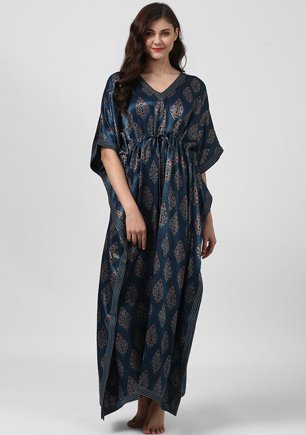 Indigo Red Printed Mushru Tie-Up Waist Luxury Kaftan with Silver Embellishments on Neck and Hemline