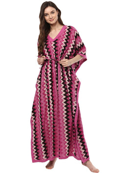 Pink White Chevron Hand Block Printed Tie-Up Waist Cotton Kaftan
