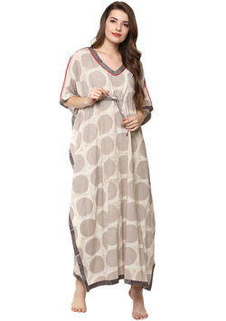 Beige Ivory Polka Dot Hand Block Printed Tie-Up Waist Cotton Kaftan with Red Trimmings