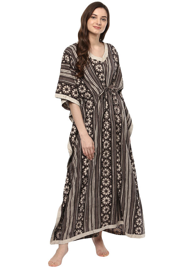 Brown Ivory Flower Motif Hand Block Printed Tie-Up Waist Cotton Kaftan