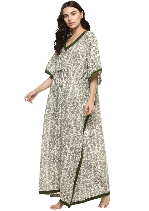 Ivory Green Floral Hand Block Printed Tie-Up Waist Cotton Kaftan