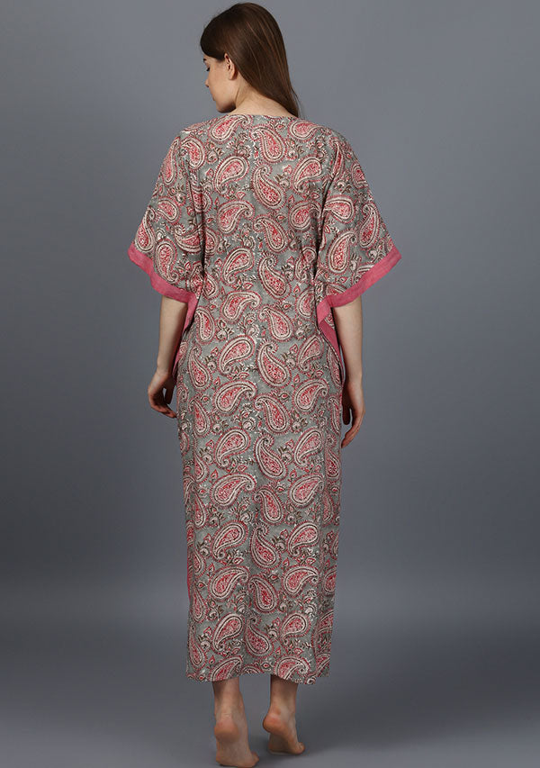 Grey Pink Paisley Hand Block Printed Tie-Up Waist Cotton Kaftan