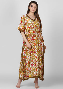 Multicolor Floral Hand Block Printed Tie Up Waist Cotton Kaftan