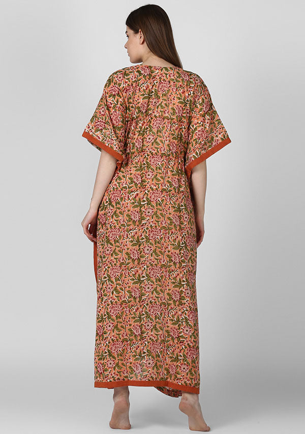 Peach Maroon Floral Hand Block Printed Tie-Up Waist Cotton Kaftan