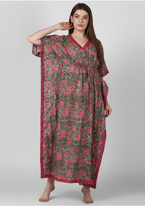 Olive Green Pink Floral Hand Block Printed Tie-Up Waist Cotton Kaftan