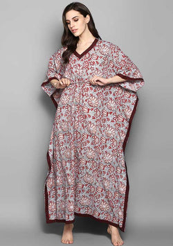 Khaki Fuschia Flower Motif Hand Block Printed Tie Up Waist Cotton Kaftan