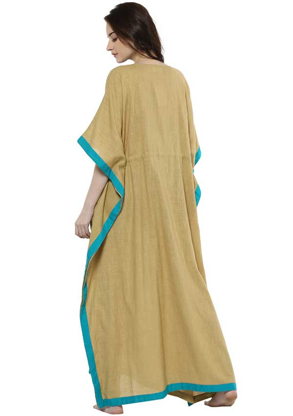 Beige Blue Tie-Up Waist Cotton Kaftan