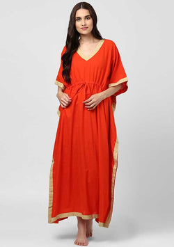 Orange Beige Tie-Up Waist Cotton Kaftan