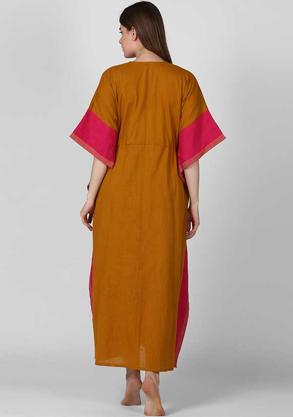 Mustard Fuschia Tie -Up Waist Cotton Kaftan
