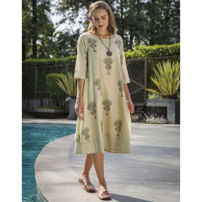 Khaki Green Tree Motif Hand Block Printed Layered Cotton Dress with Sleeves