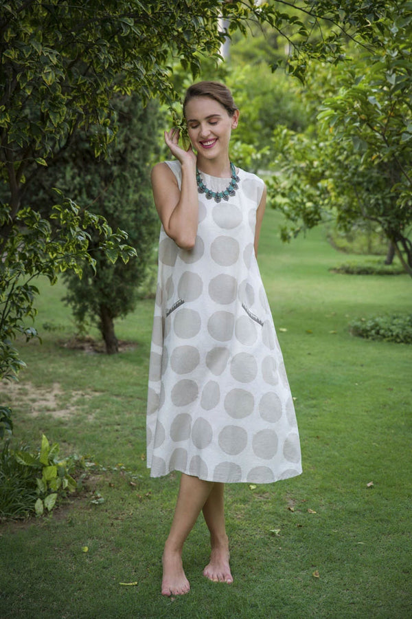 Beige Polka Printed Calf Length Cotton Dress