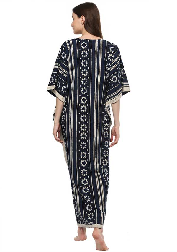 Indigo Ivory Flower Motif Hand Block Printed V-Neck Cotton Kaftan