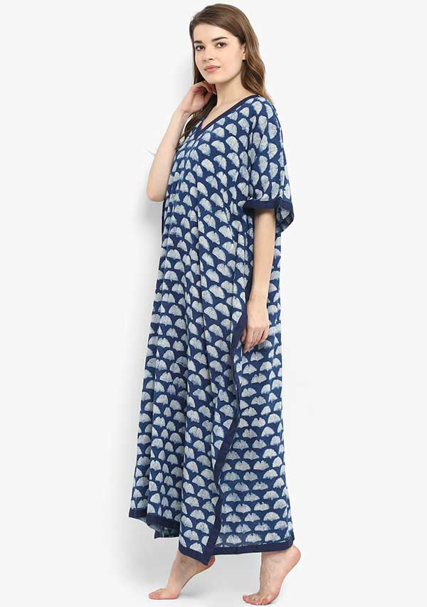 Indigo Ivory Hand Block Printed V-Neck Cotton Kaftan