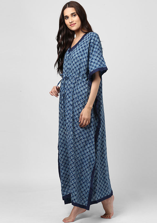 Indigo Geometric Hand Block Printed Tie-Up Waist Cotton Kaftan