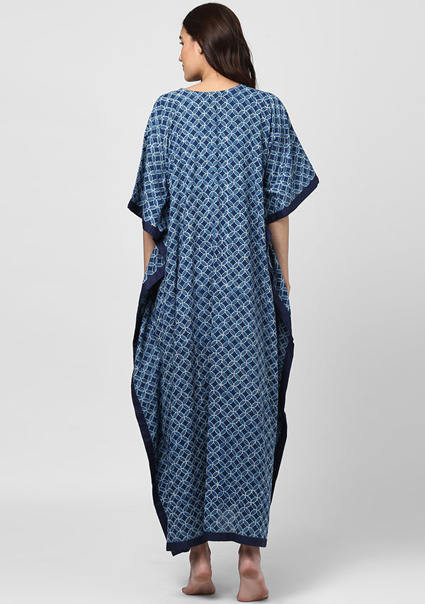 Indigo Geometric Hand Block Printed V-Neck Cotton Kaftan