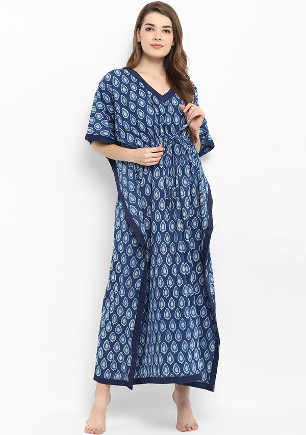 Indigo Ivory Leaf Motif Hand Block Printed Tie-Up Waist Cotton Kaftan