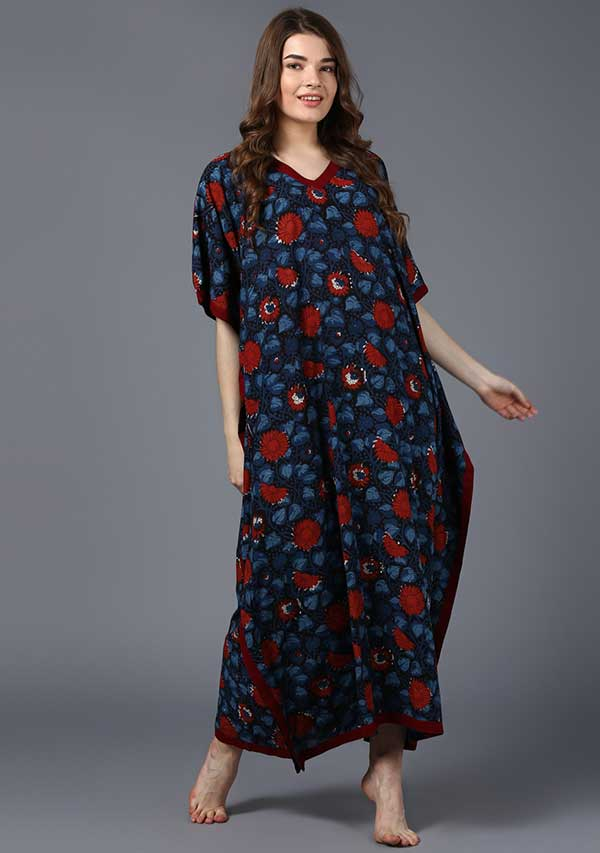 Indigo Maroon Hand Block Printed V-Neck Cotton Kaftan