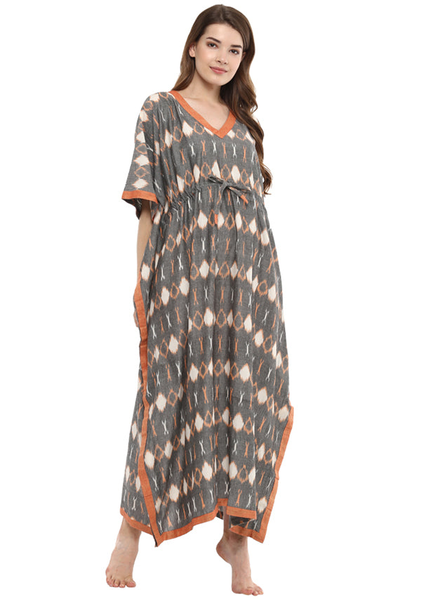 Grey Peach Ikkat Weave Tie-Up Waist Cotton Kaftan