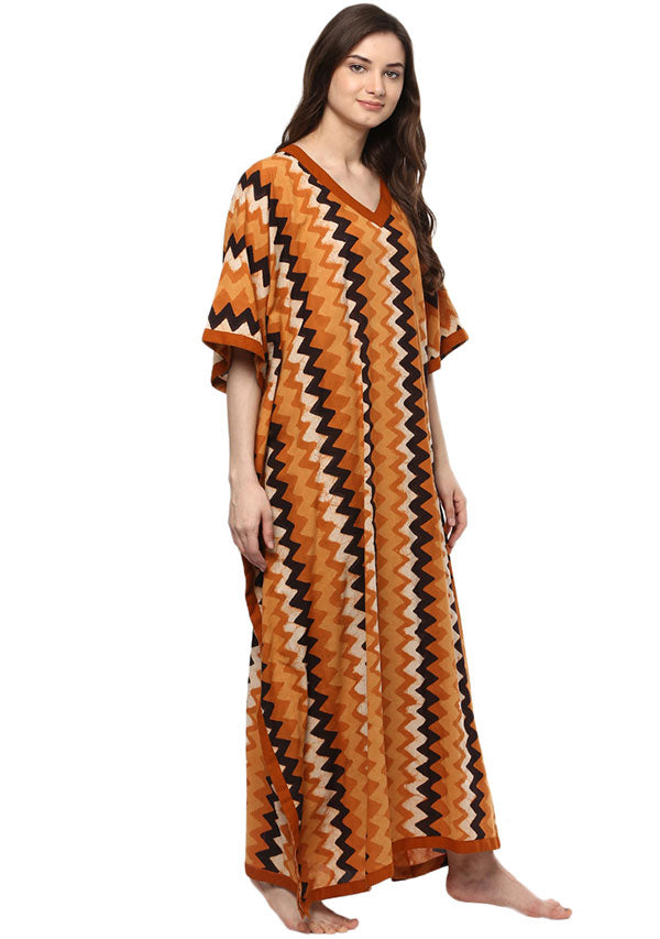 Rust Ivory Chevron Hand Block Printed V Neck Cotton Kaftan