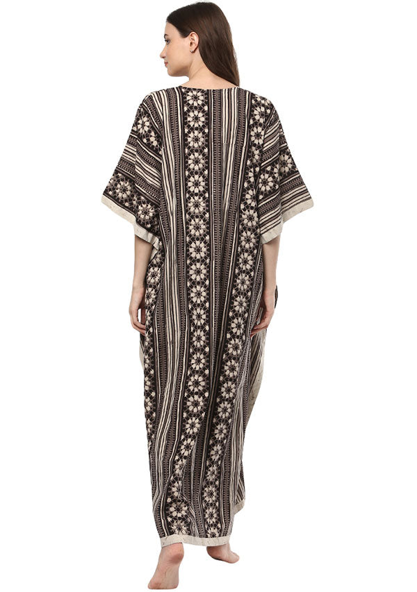 Brown Ivory Flower Motif Hand Block Printed V Neck Cotton Kaftan