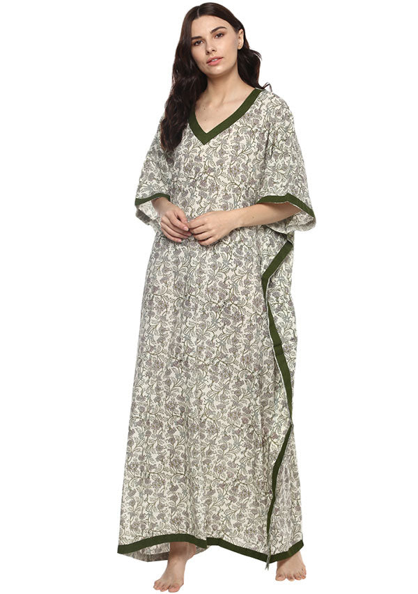 Ivory Green Floral Hand Block Printed V-Neck Cotton Kaftan