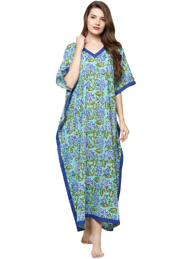 Turquoise Blue Hand Block Printed V-Neck Cotton Kaftan